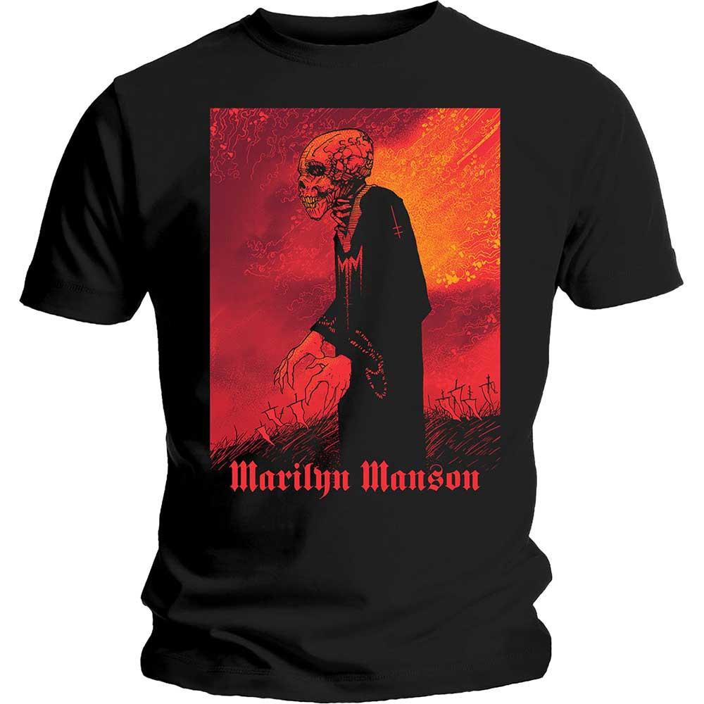 Official Marilyn Manson Mens Black Mirrored T Shirt