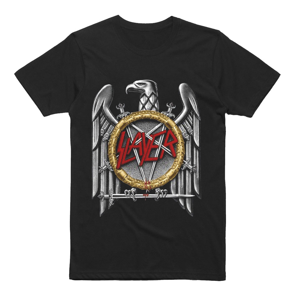Slayer T-Shirts & Merchandise Show no mercy while rocking out at the next heavy metal festival with Slayer merchandise from Hot Topic. Pay homage to these thrash metal legends by checking out our awesome collection of Slayer clothing such as Slayer t-shirts and Slayer hoodies.