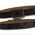 AC/DC Black Leather With Inlay Buckle
