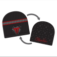 Throwdown : Black Beanie Red Logo Reversable