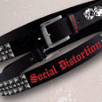 Social Distortion : Black Studded Belt With Emb Printing