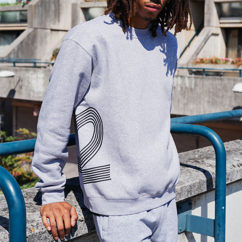 2HR SET - Striped 2 Sweatshirt (Grey)