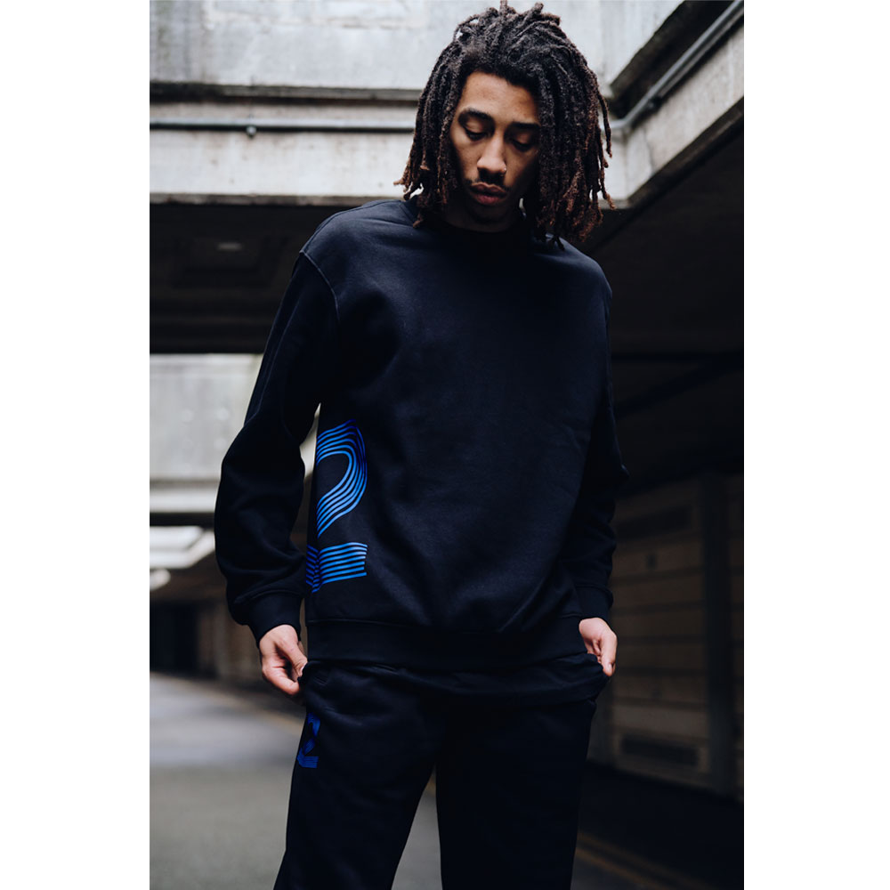 2HR SET - Striped 2 Sweatshirt (Black)