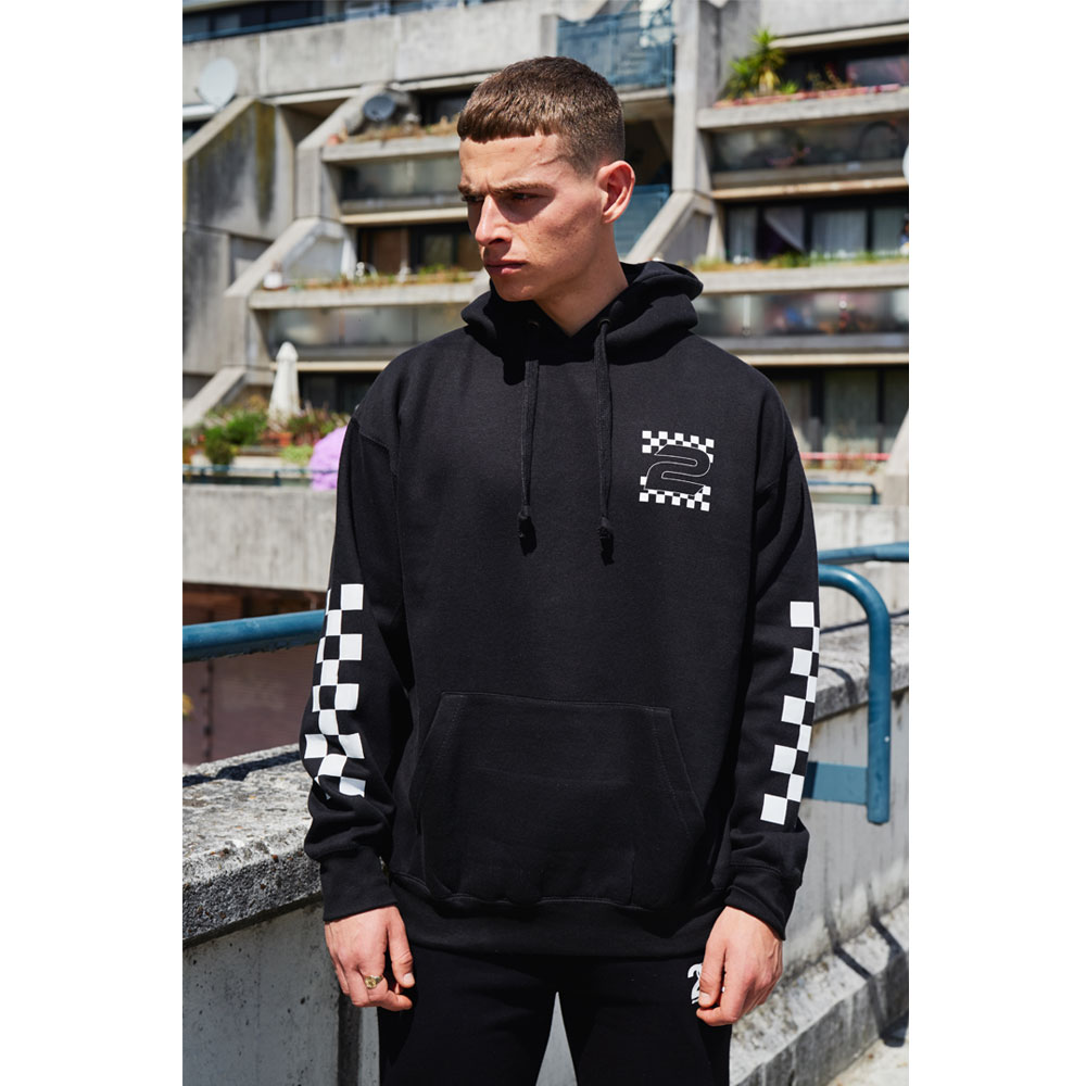 2HR SET - Chequered Print 2 Hoodie (Black)