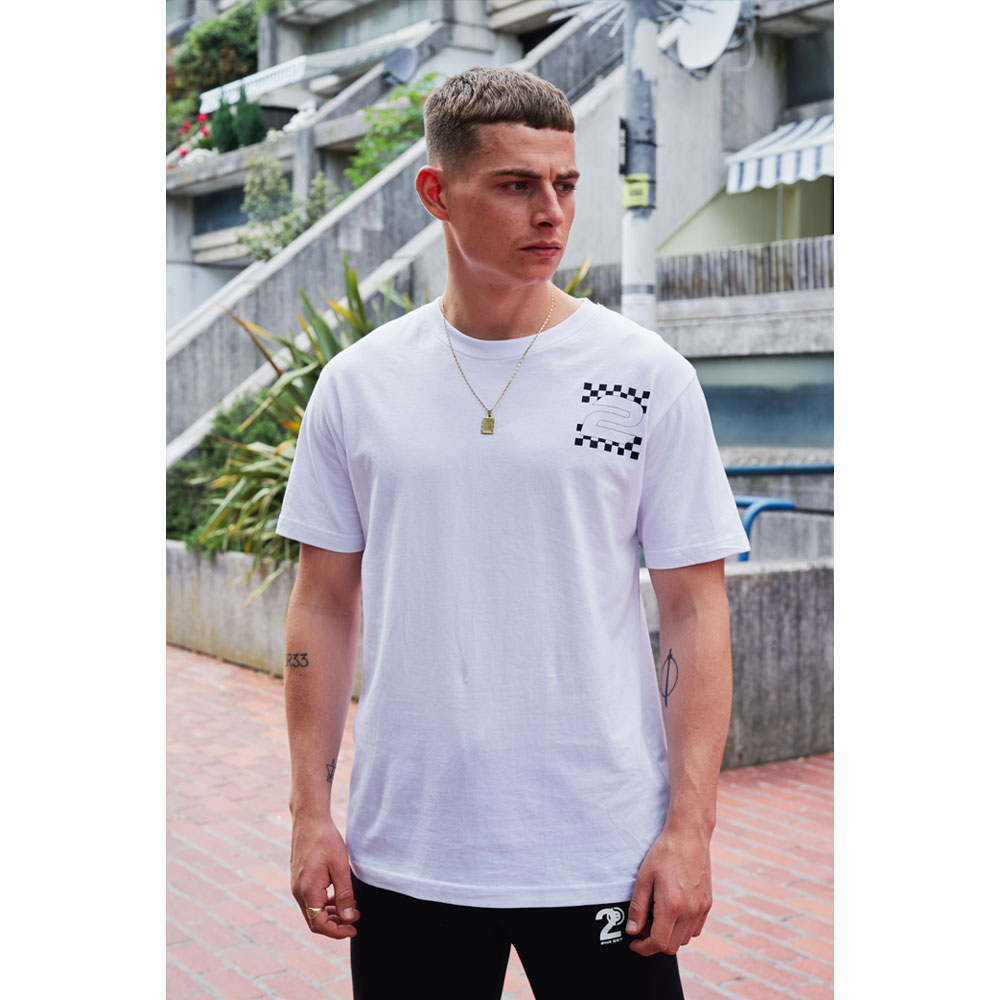 2HR SET - Chequered Print 2 T-Shirt (White)
