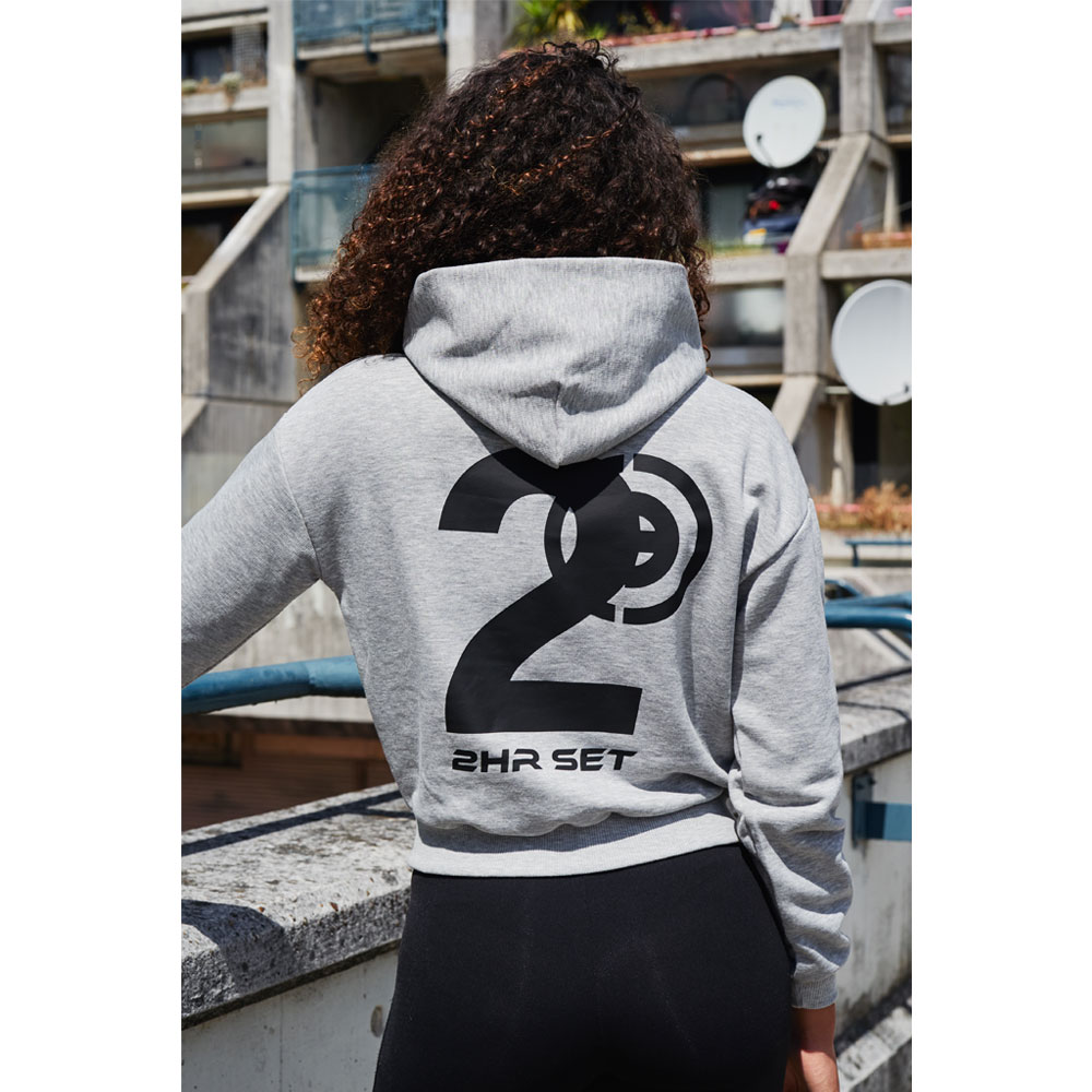 2HR SET - Hero Logo Cropped Hoodie (Grey)