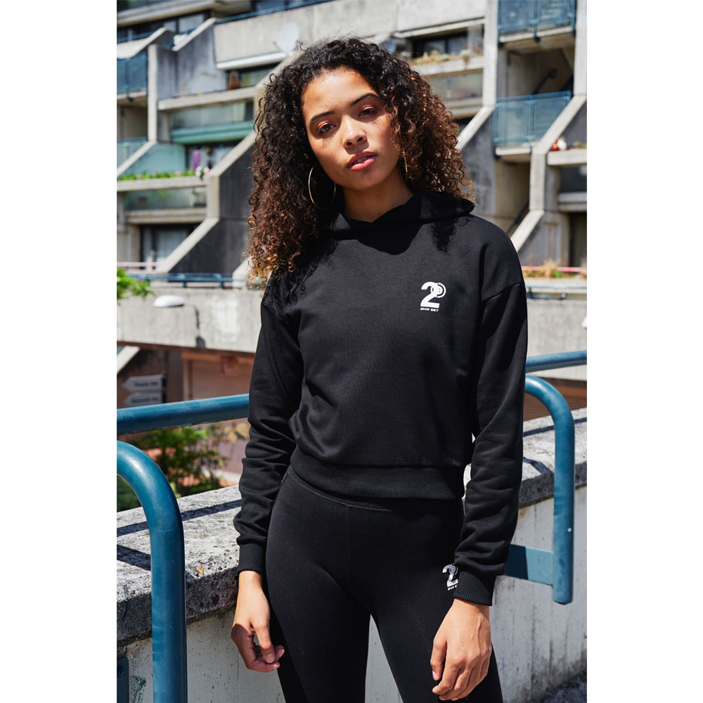 2HR SET - Hero Logo Cropped Hoodie (Black)