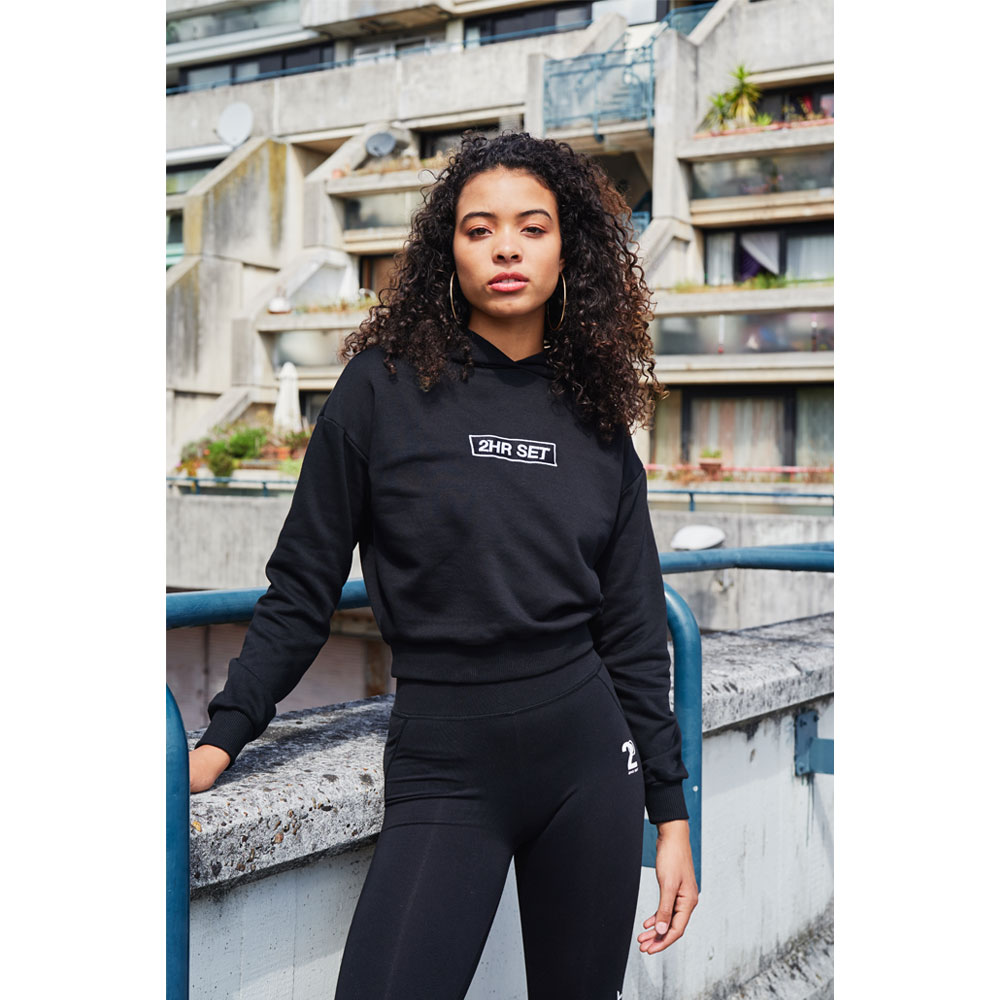 2HR SET - Box Logo Cropped Hoodie (Black)
