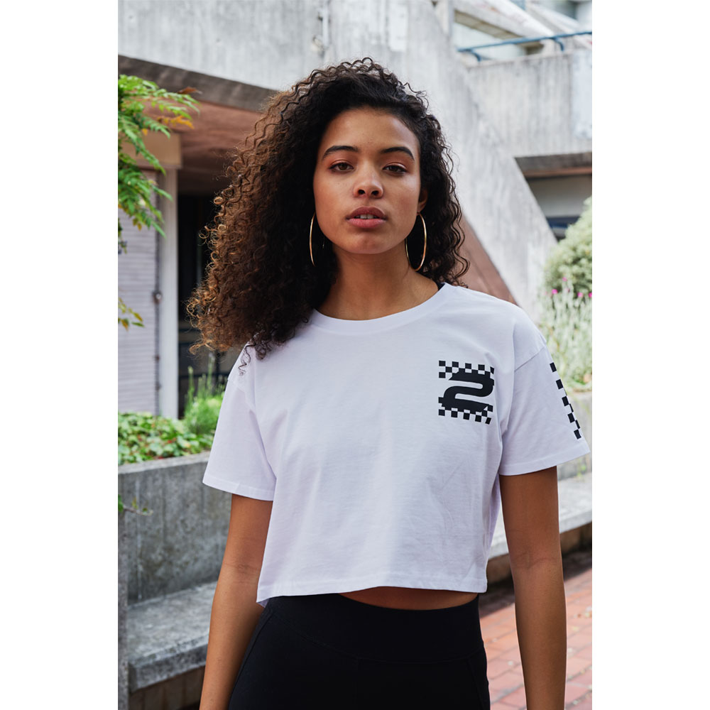 2HR SET - Chequered Cropped T-Shirt (White)