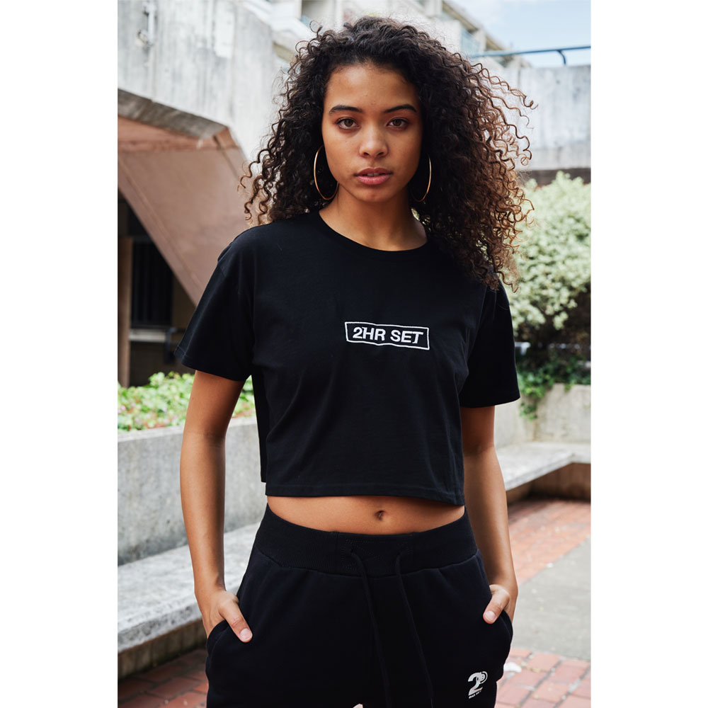 2HR SET - Box Logo Cropped T-Shirt (Black)