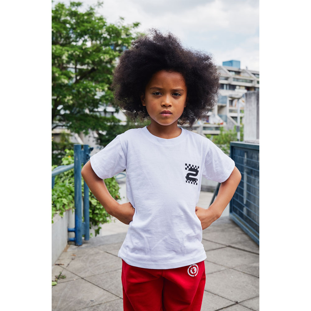 2HR SET - Kids Chequered T-Shirt (White)