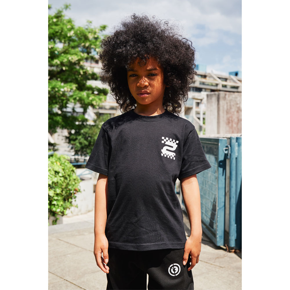 2HR SET - Kids Chequered T-shirt (Black)
