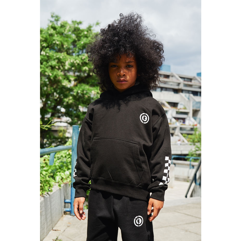 2HR SET - Kids Chequered Hoodie (Black)