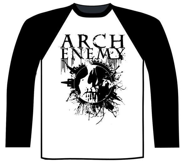 Arch Enemy - Skull Baseball Shirt (Black / White)
