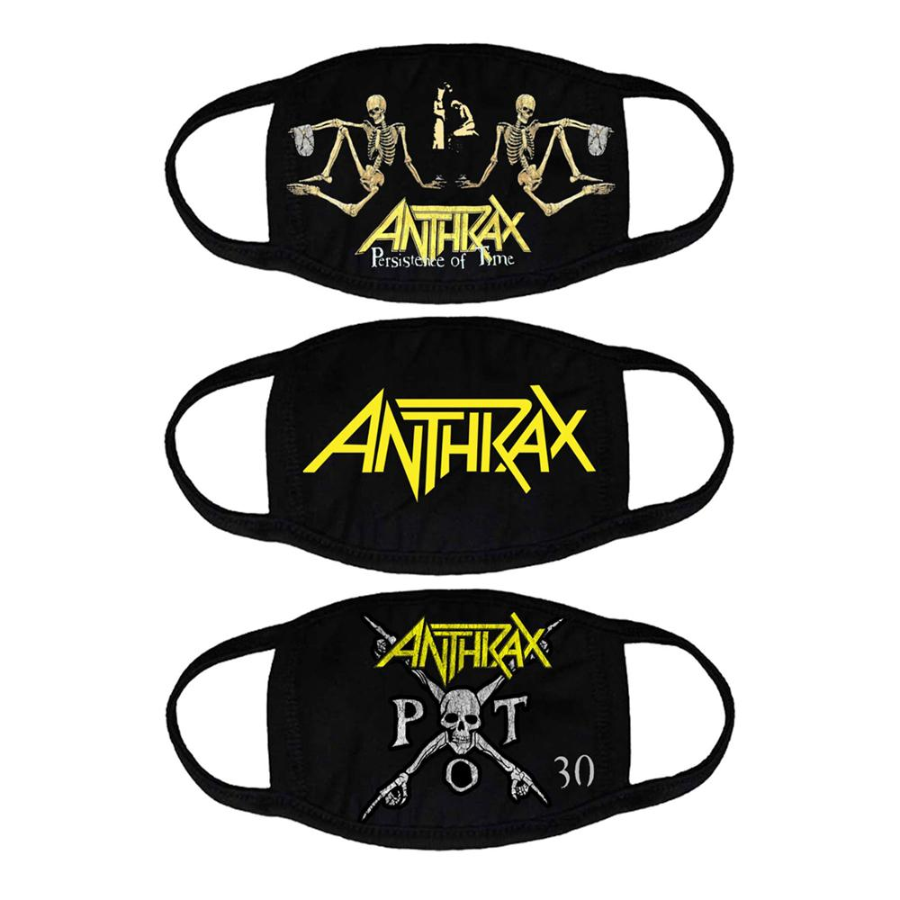 Anthrax - Persistence of Time face mask pack of 3