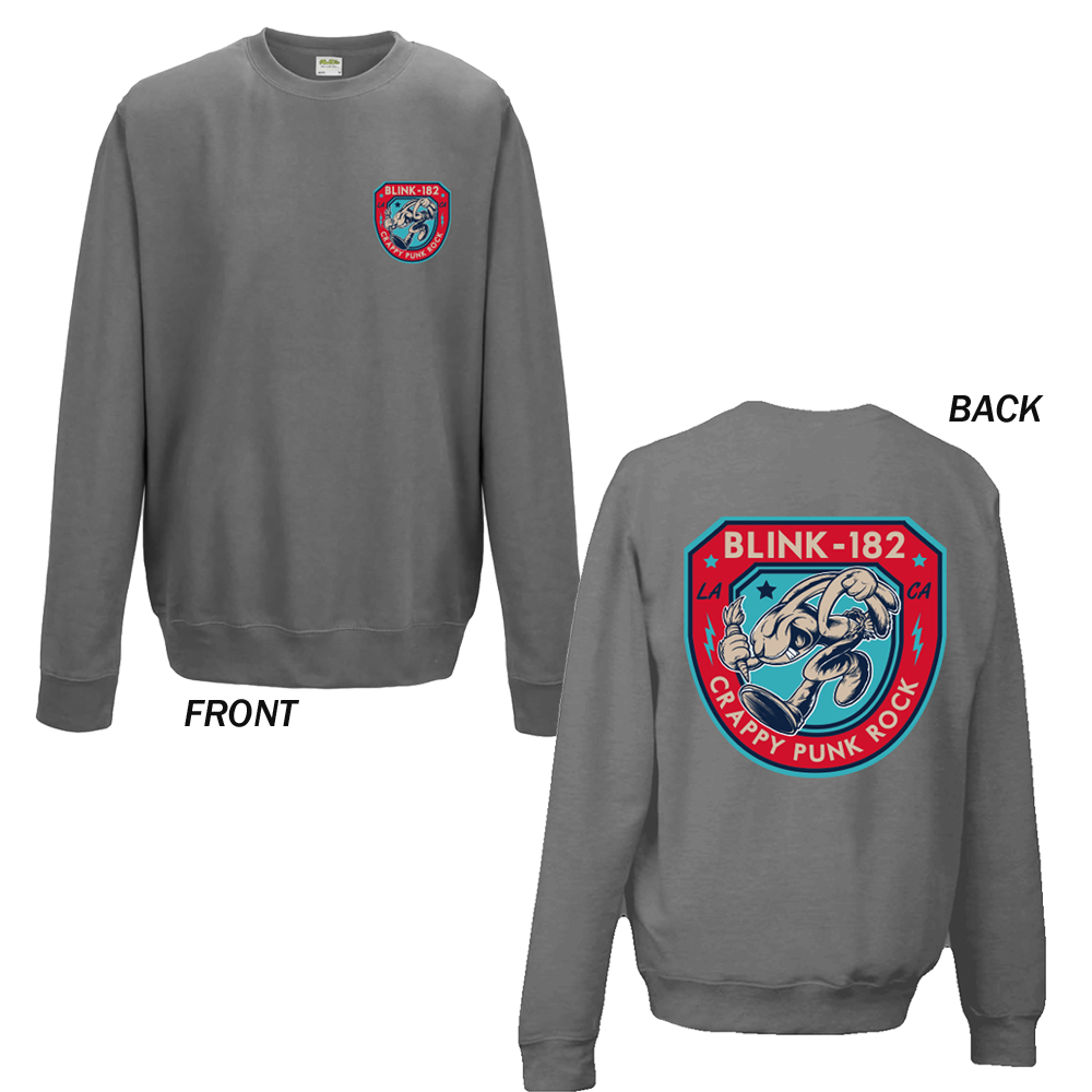 Blink 182 -  Runner Shield (Steel Grey Sweatshirt)