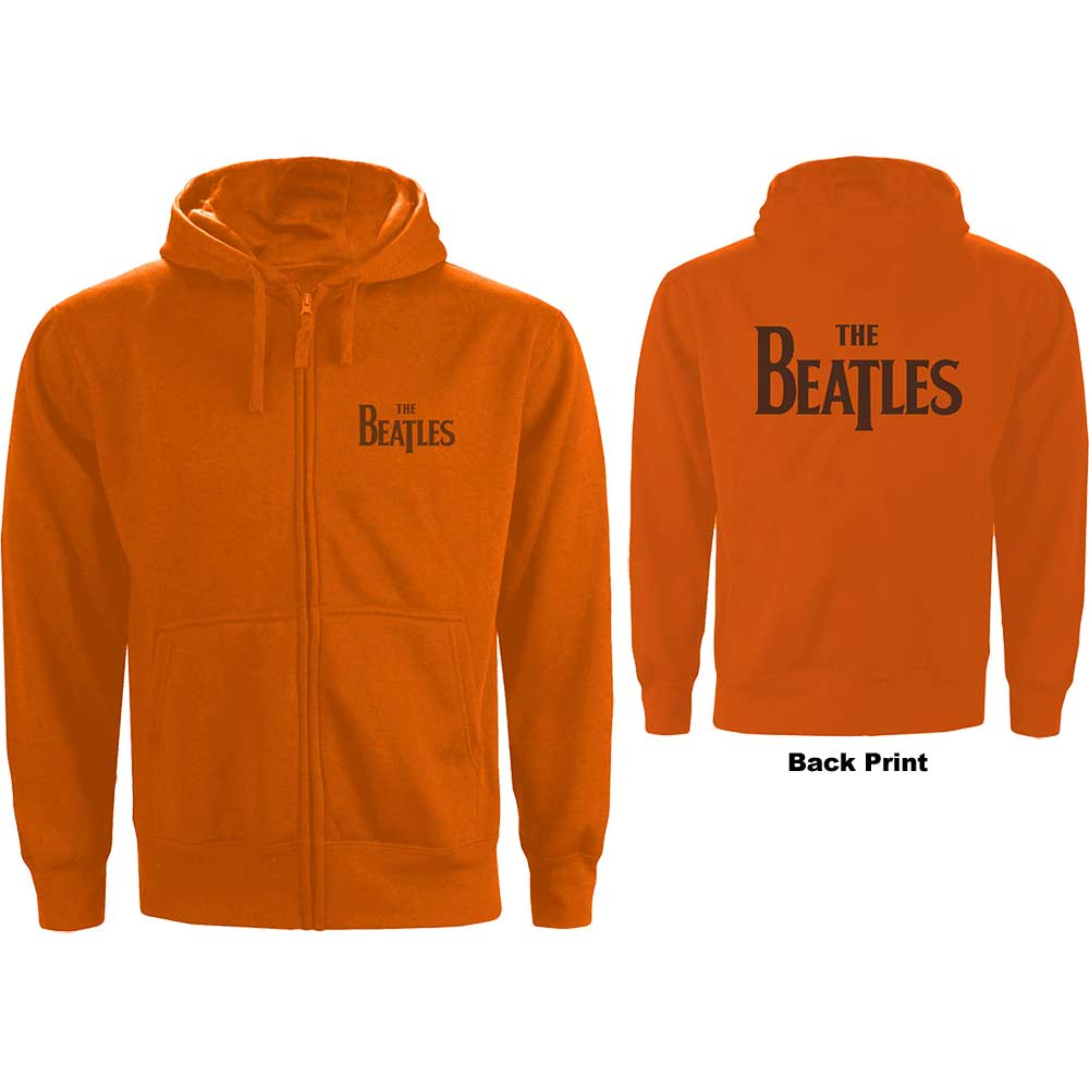 Beatles - Drop T Logo (Back Print) (Orange Zip Hoodie)
