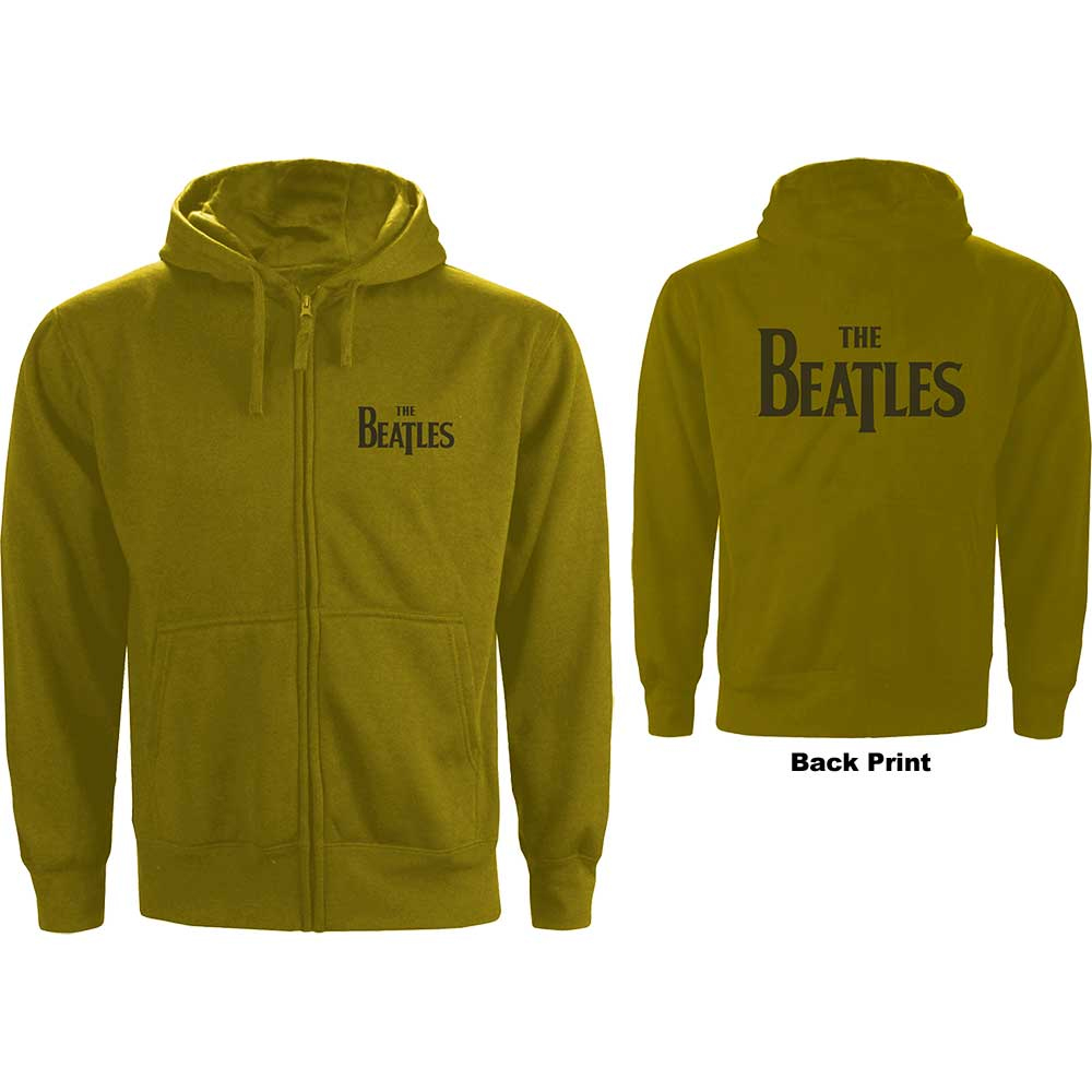 Beatles - Drop T Logo (Back Print) (Green) (Zip Hoodie)