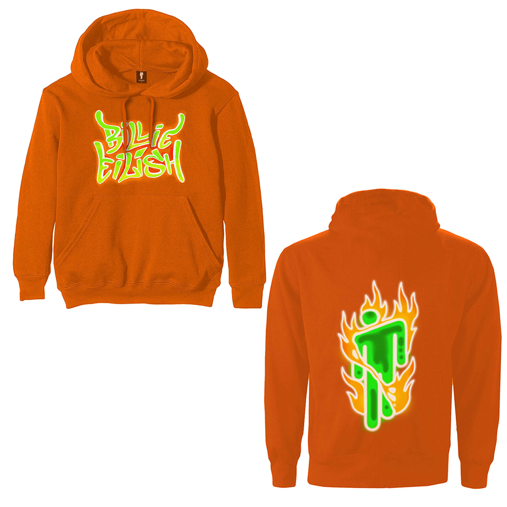 Billie Eilish - Airbrush Flames Blohsh (Back Print) (Orange Hoodie)