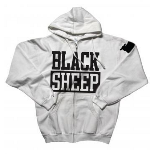 Black Sheep - Block Logo (White Zipped Hood)