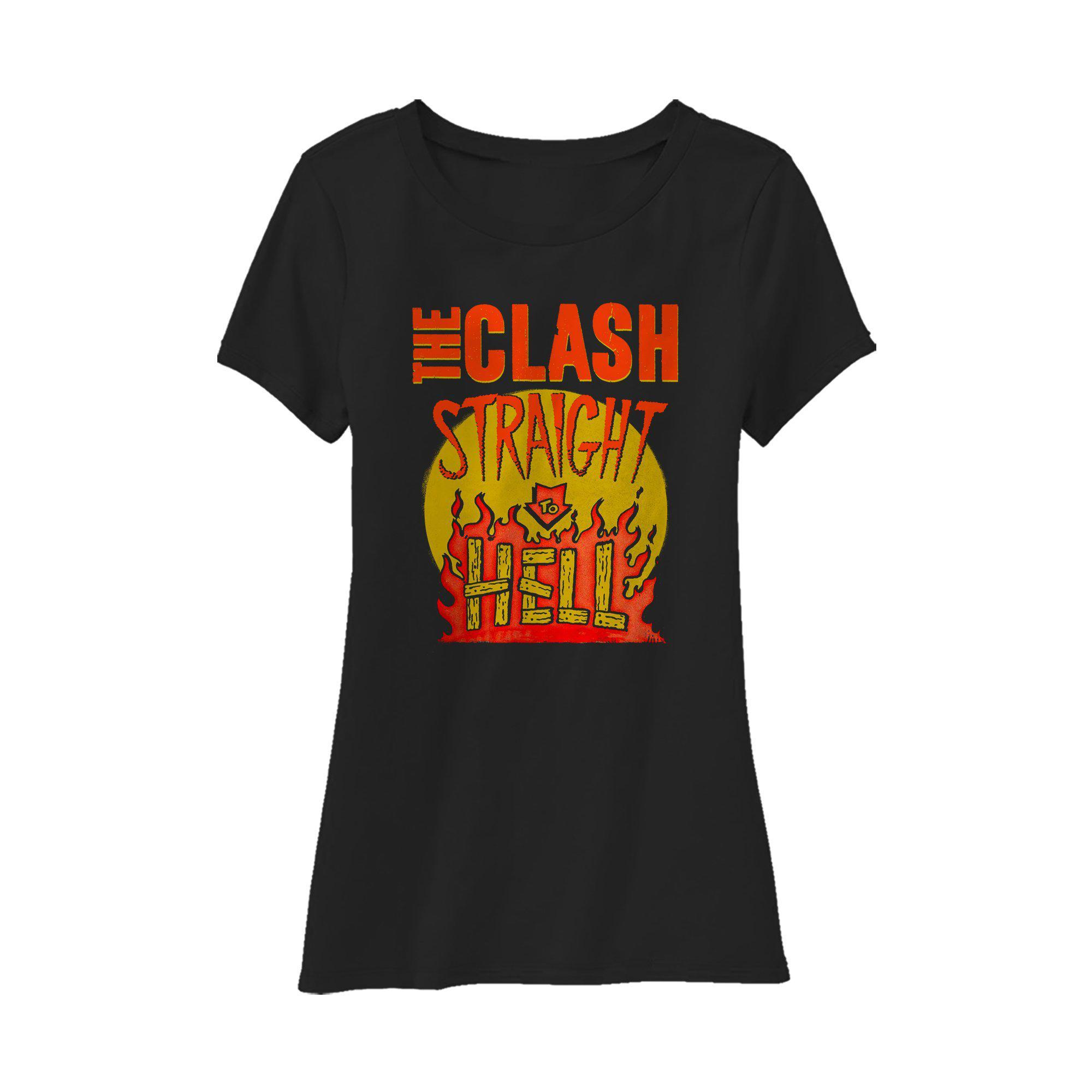 Black Market Clash - Straight To Hell Military Ladies Black T-Shirt