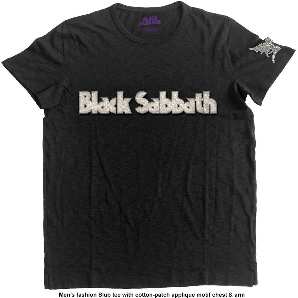 Black sabbath t shirt iron man - Black Sabbath Logo Daemon With Applique Motifs Black