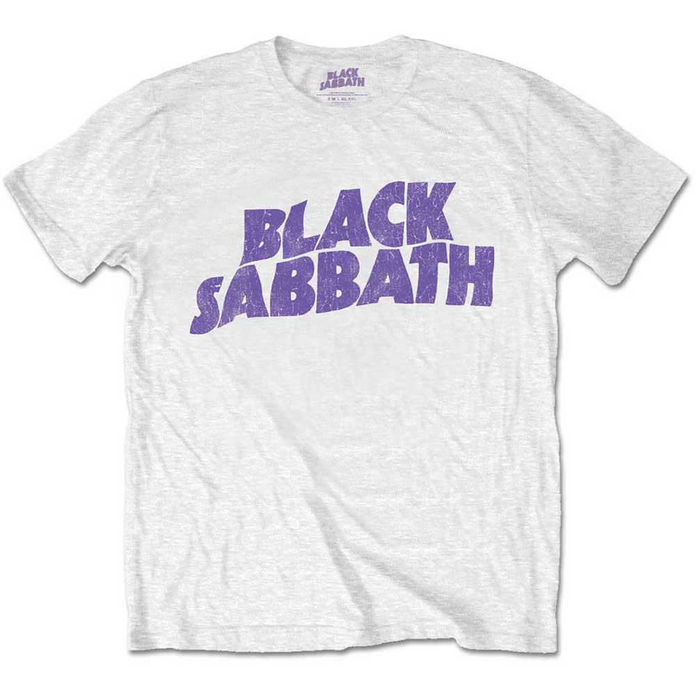Black Sabbath - Wavy Logo Vintage White