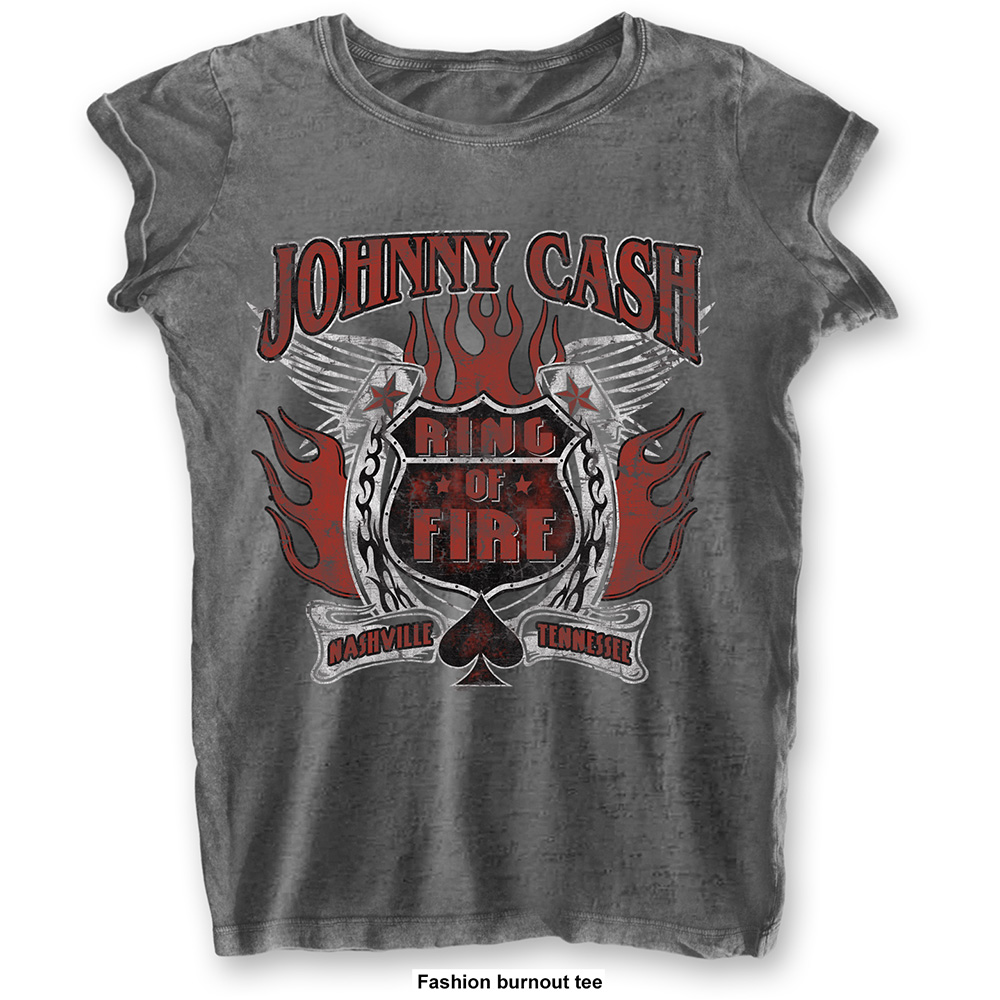 Johnny Cash - Ring Of Fire (Women's) (Charcoal)
