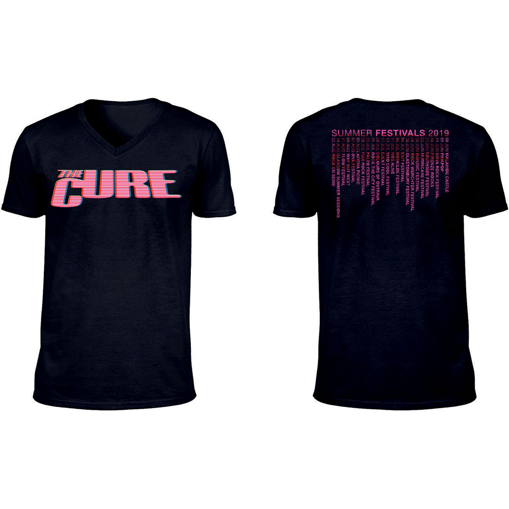 The Cure - Neon Logo (Ex-Tour/V-Neck & Back Print)
