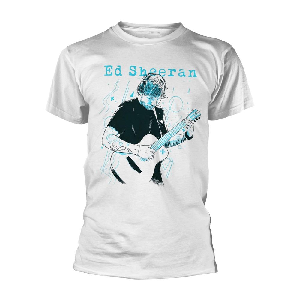 Ed Sheeran - Guitar Line Illustration (White)