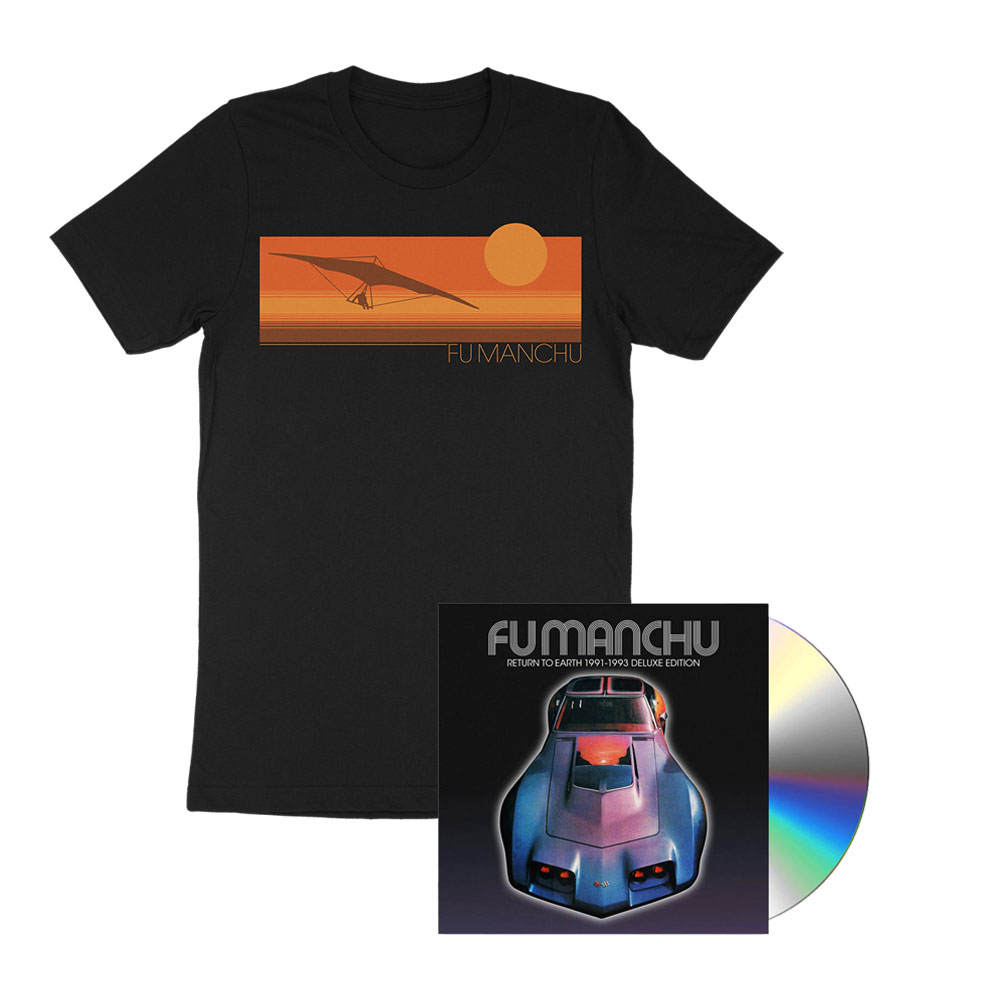Fu Manchu - Hang Glider Black T-Shirt + Return To Earth Deluxe CD Bundle