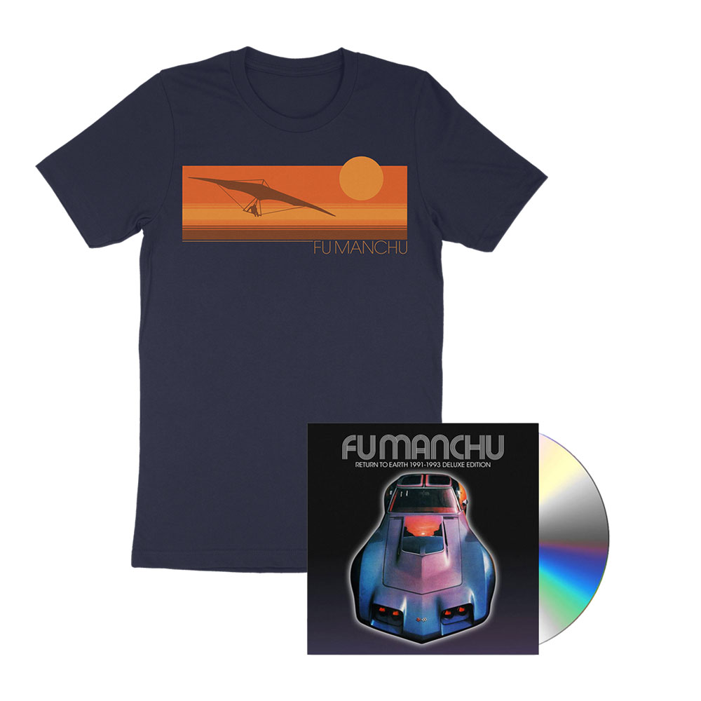 Fu Manchu - Hang Glider Navy T-Shirt + Return To Earth Deluxe CD Bundle