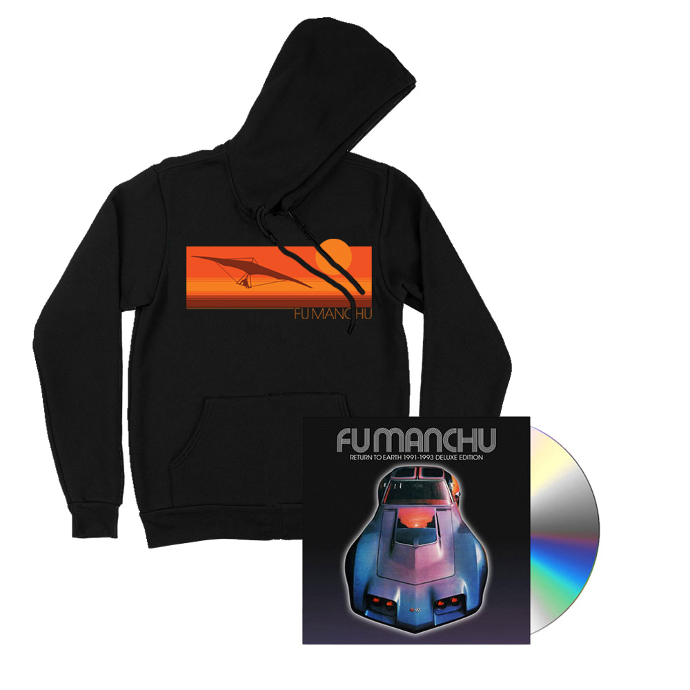 Fu Manchu - Hang Glider Black Hoodie + Return To Earth Deluxe CD Bundle.