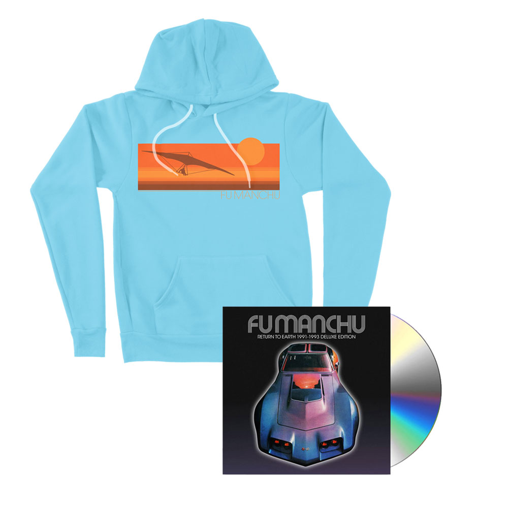 Fu Manchu - Hang Glider Light Blue Hoodie + Return To Earth Deluxe CD Bundle