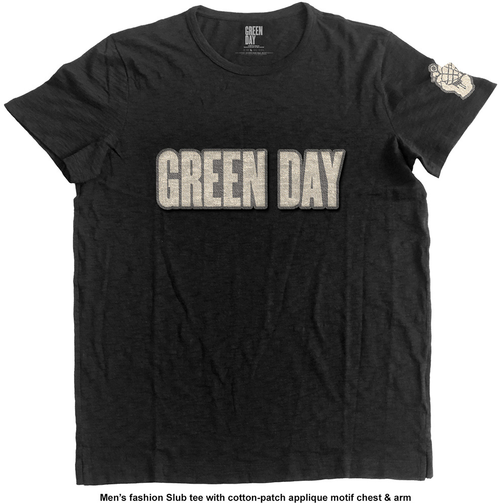 Green Day - Logo & Grenade with Applique Motifs (Black)
