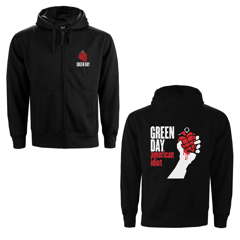 Green Day - American Idiot (Back Print) (Ladies Zip Hoodie)