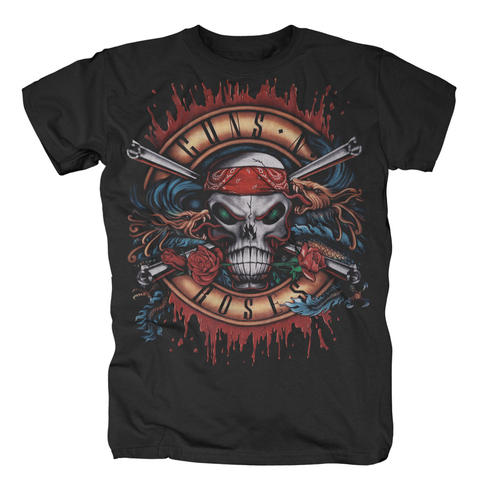 Guns N Roses - Green Light Skull (Black)