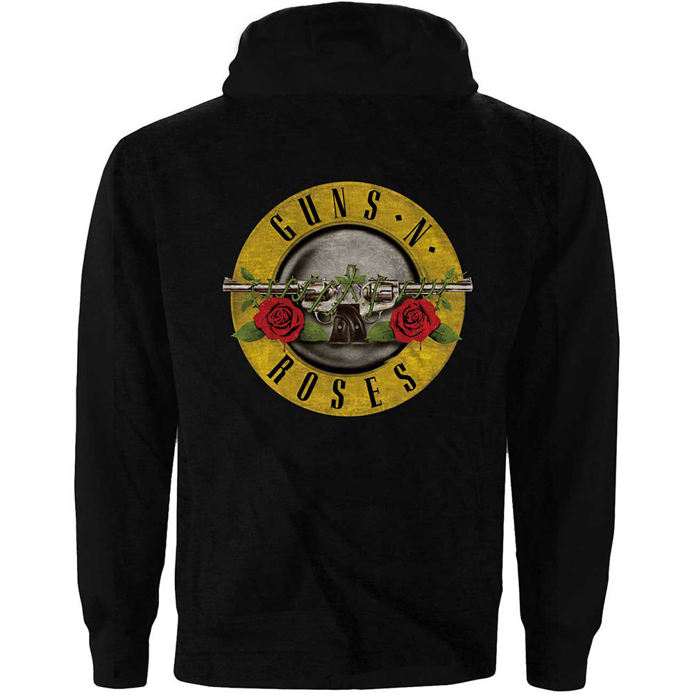 Guns N Roses - Classic Logo (Back Print) (Ladies Zip Hoodie)