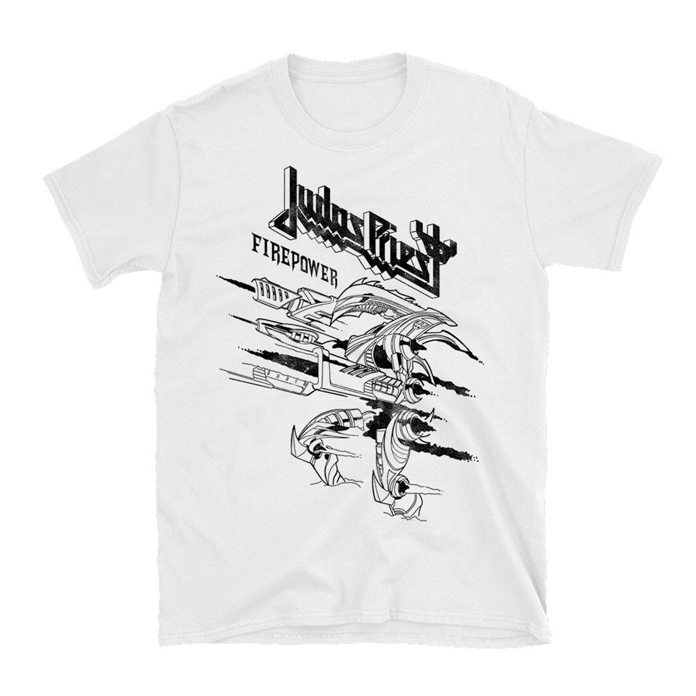 Judas Priest - Firepower Line Drawing White T-Shirt