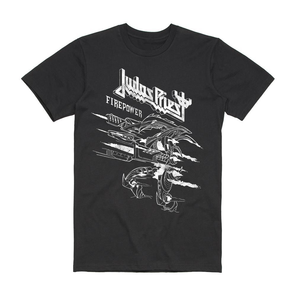 Judas Priest - Firepower Line Drawing (Black T-Shirt)