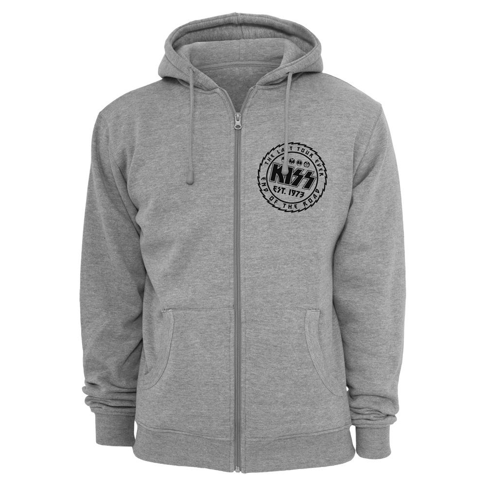 Kiss - The Last Tour Ever (Grey Zipped Hoodie)