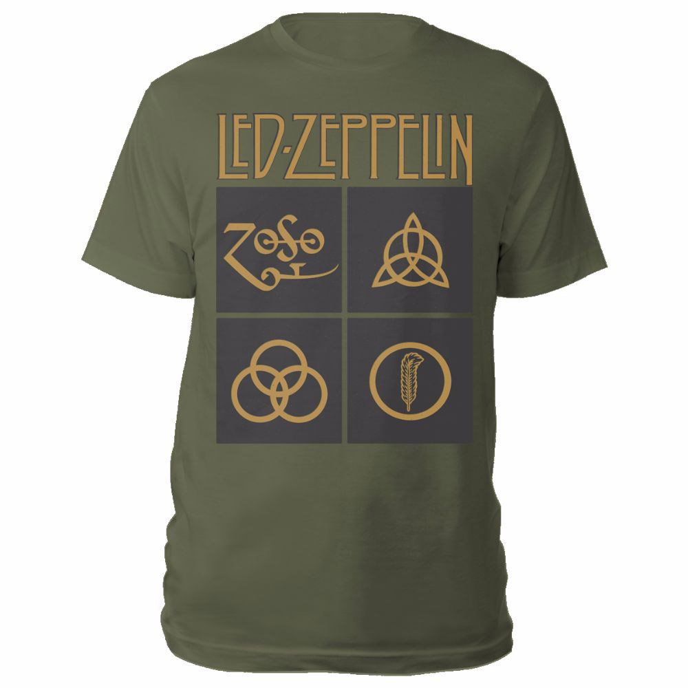 Led Zeppelin - Gold Symbols In Black Squares (Olive Green)