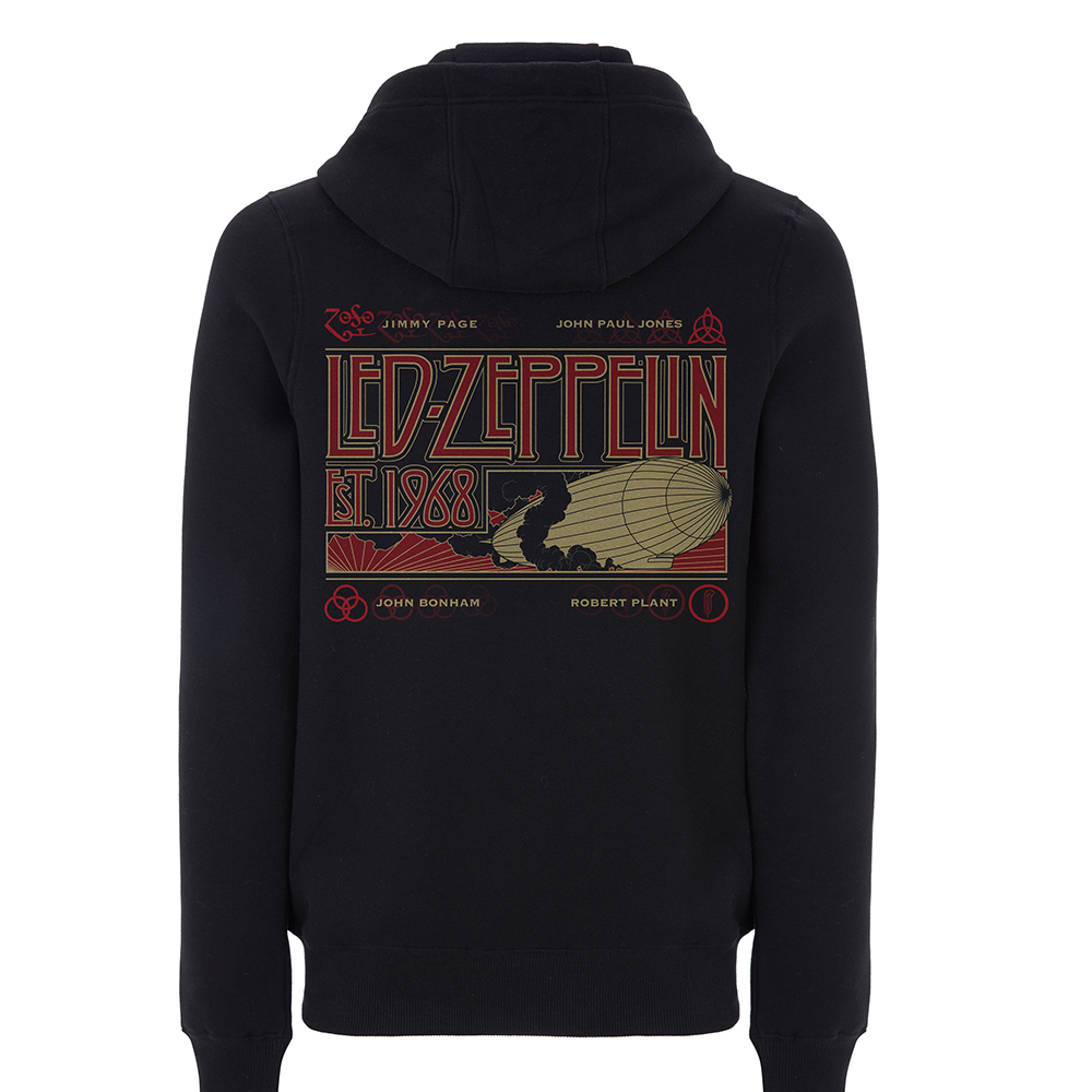 Led Zeppelin - Zeppelin & Smoke (Black Zip Hoodie)