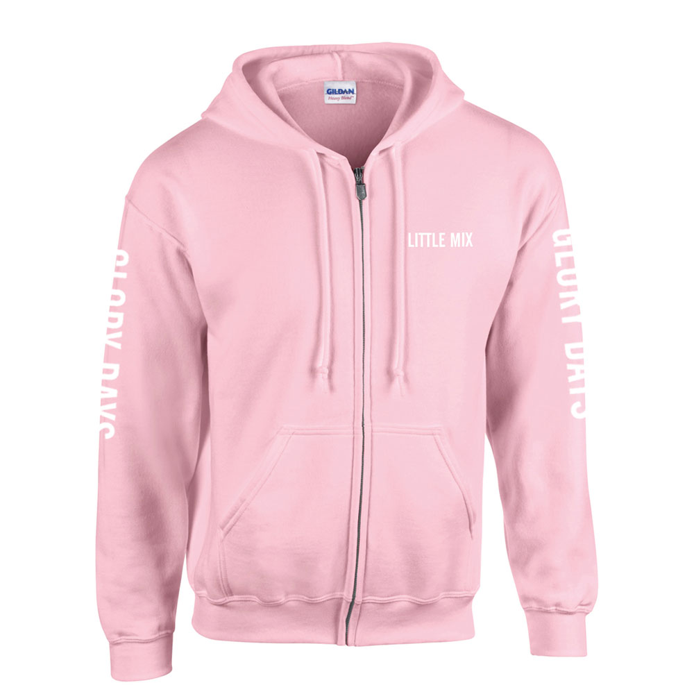 5c005d485dd Little Mix - Glory Days Pink and White Text Zip Hoodie