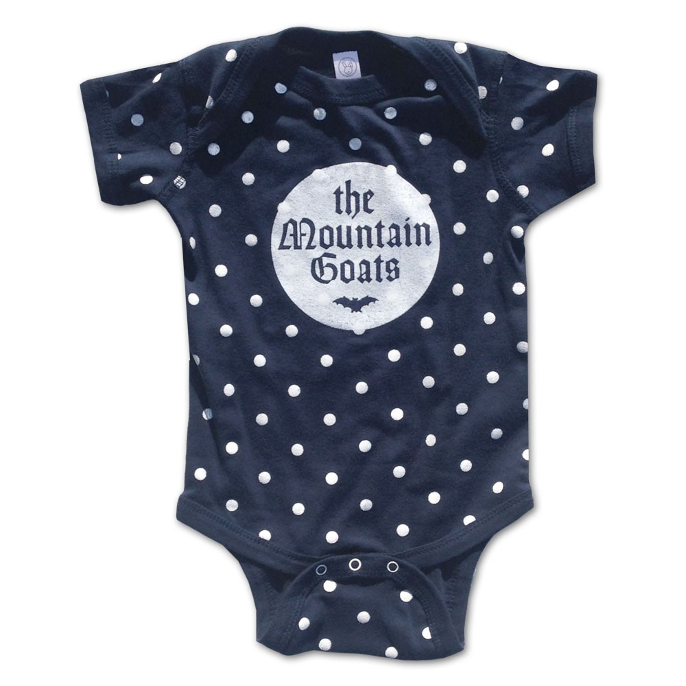 The Mountain Goats - White Bat On Polka Dot Navy Onesie