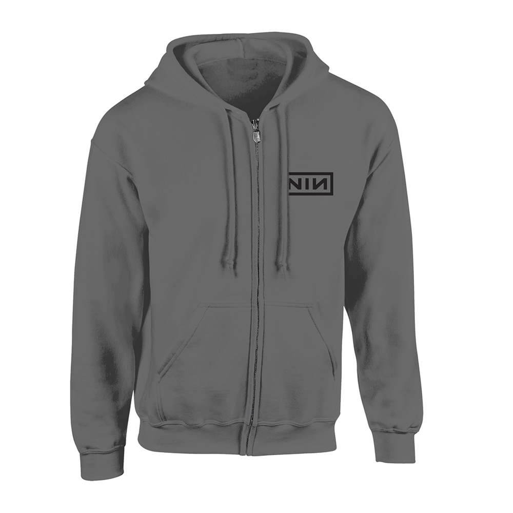 Nine Inch Nails - Classic Black Logo (Grey Zip Hoodie)