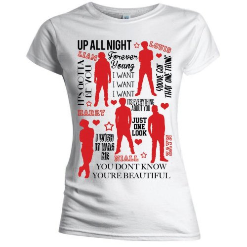 One Direction - Silhouette Lyrics Red on White (Skinny Fit)