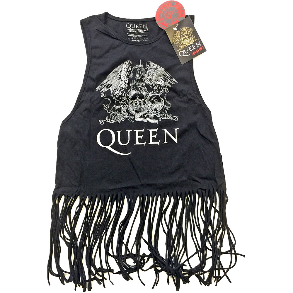 Queen - Crest Vintage Tasseled Vest (Black)