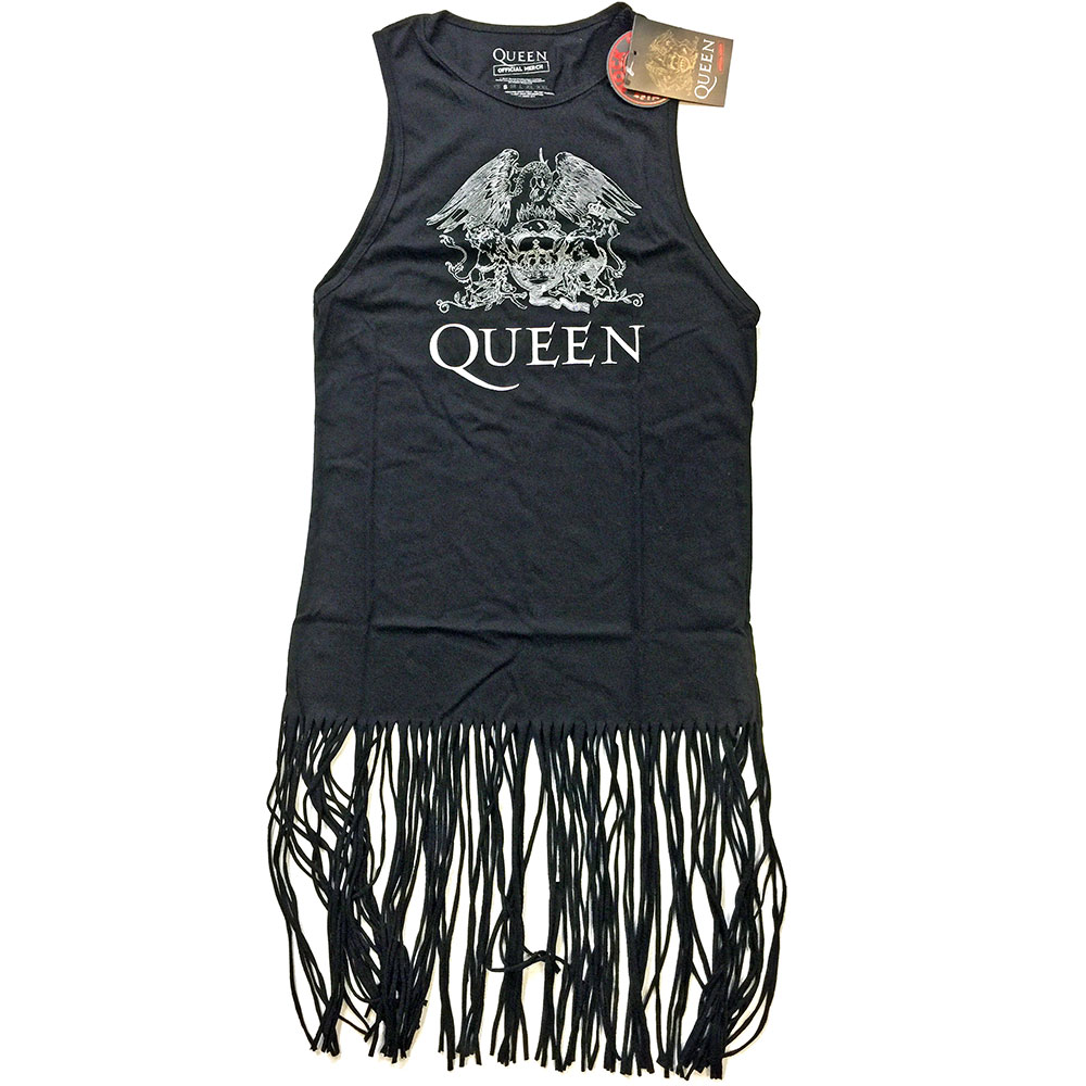 Queen - Crest Vintage Tasseled Dress (Black)