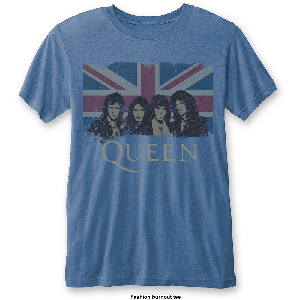 Queen - Vintage Union Jack Burnout (Blue)